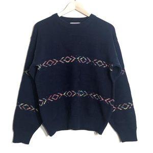 Vintage Knit Sweater Graphix Navy Crew Neck